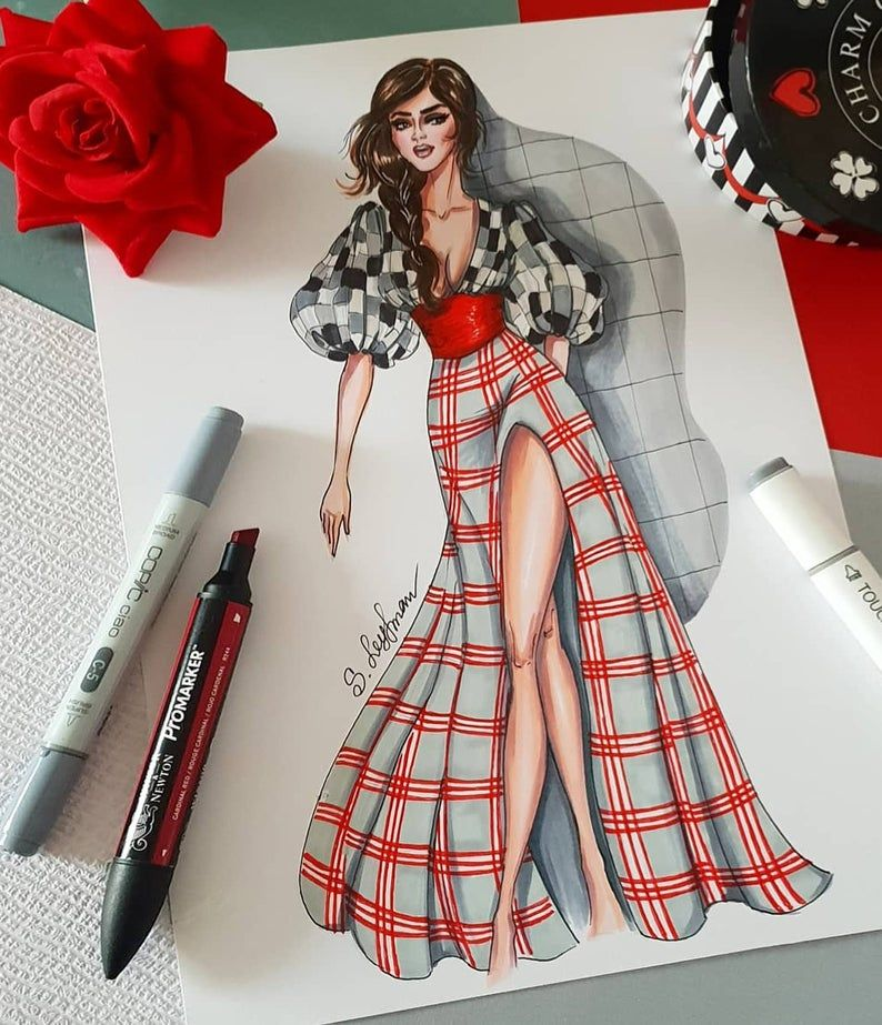 Photo of Mode-Illustration der Frau in karierten Outfit digitale Datei | Etsy