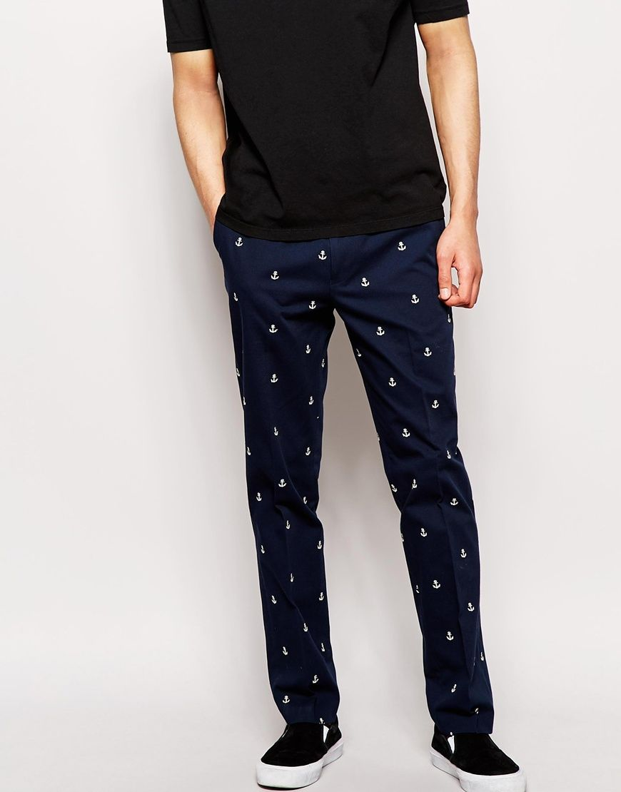 556dfc29f6b8f ASOS Slim Fit Trousers With Anchor Design | My Style | Slim fit ...
