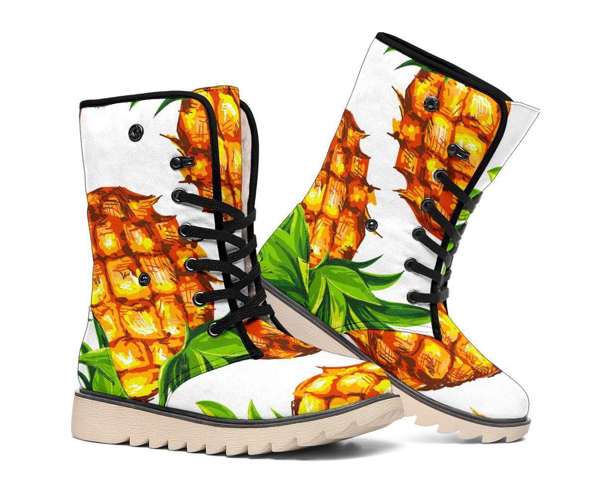 White Summer Pineapple Pattern Print Polar Boots