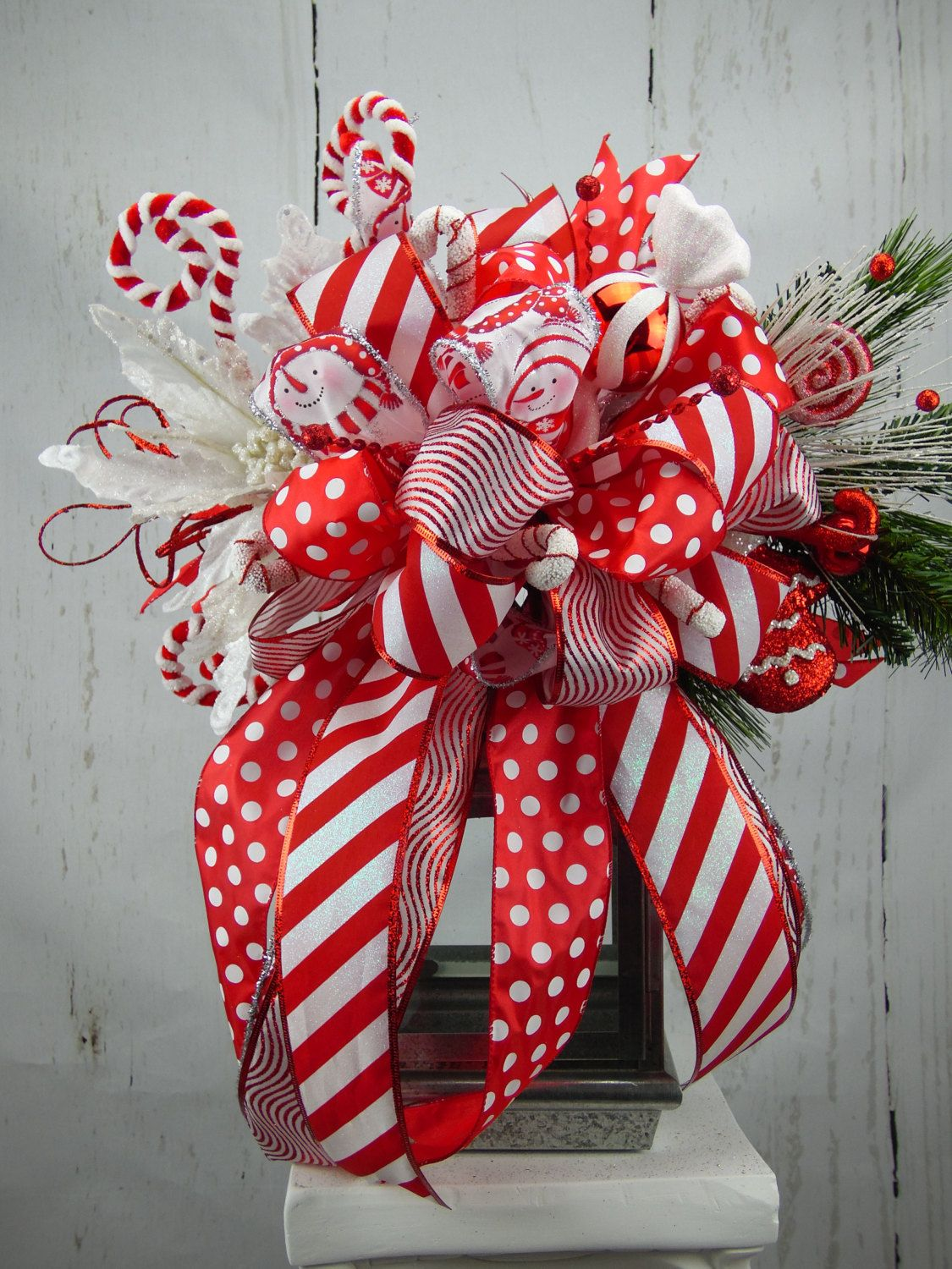 Candy Cane Lantern Swag, Candy Cane Tree topper, Red and ...