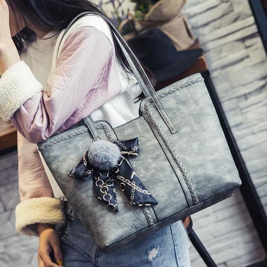 ecf8323653 Retro Girl s PU Whole Color Sewing Thread Weave Shoulder Bag Handbag ...