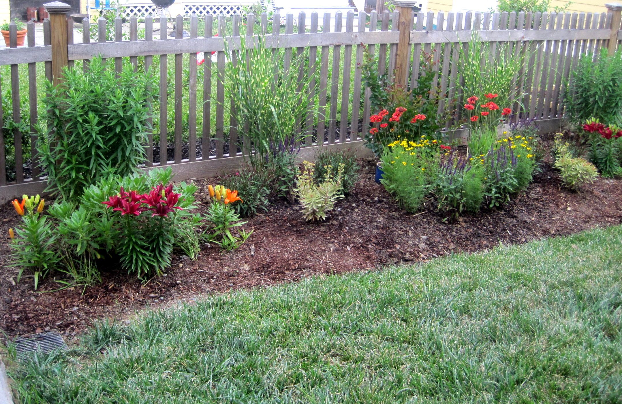 Beds Along The Fence W Wood Chips