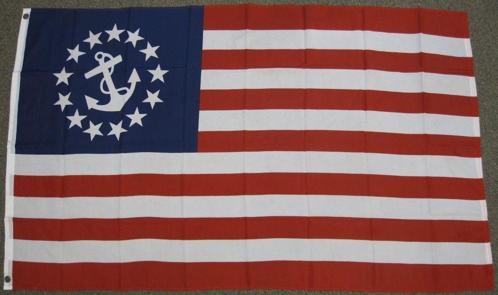Yacht Ensign American Flag 3x5 Feet Anchor Sail Boat Nautical Sailing Banner New Historical American Flags American Flag Nautical