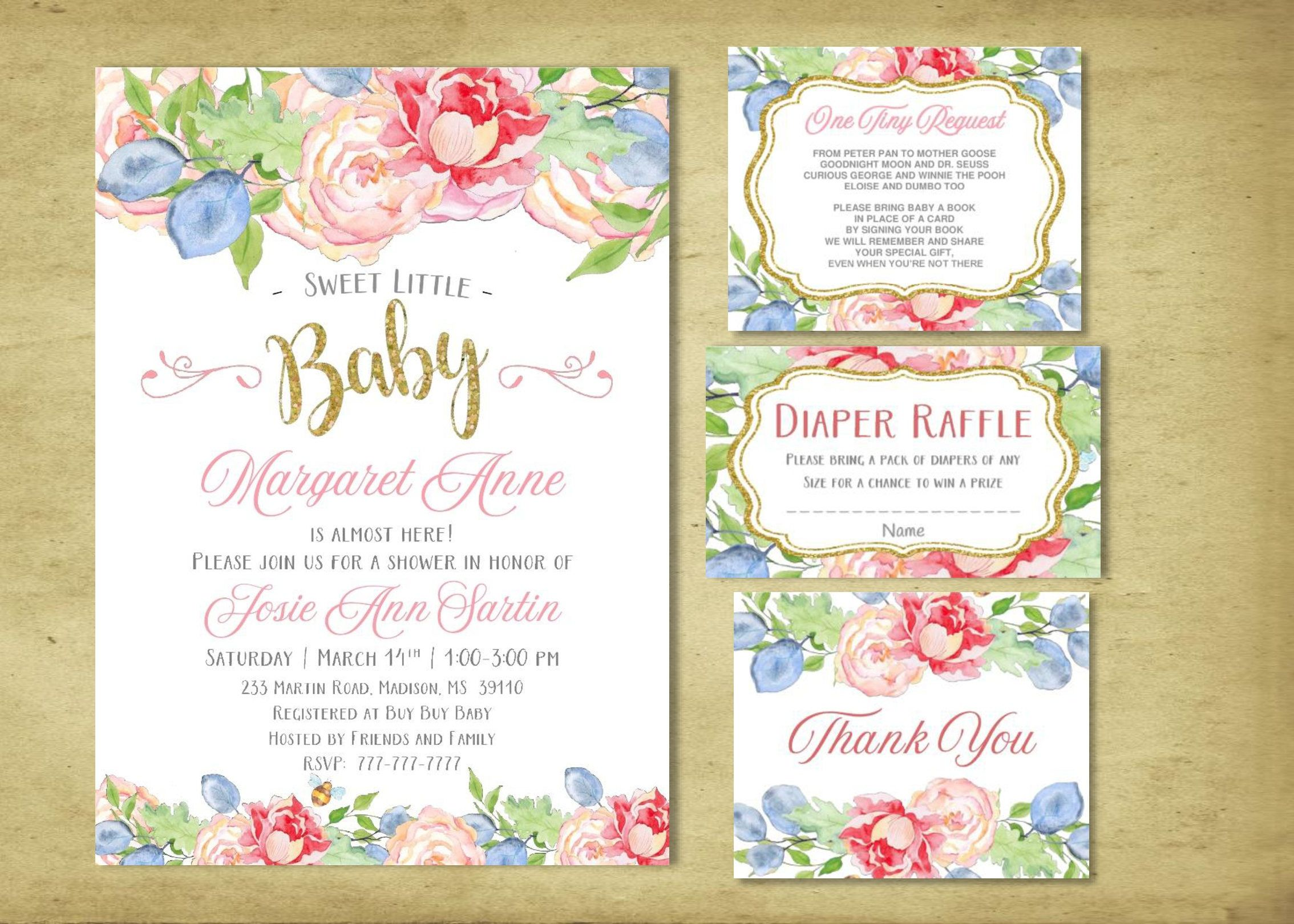 SWEET BABY Baby Shower Invite | GIrl Baby Shower | Floral | Peonies ...