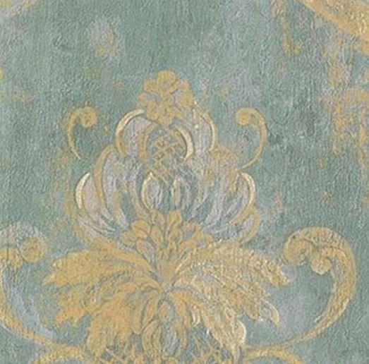 Blue Green Floral Swag Damask Wallpaper Worn Gold
