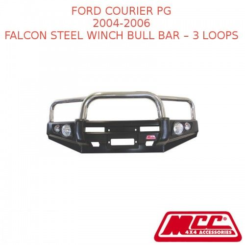 MCC FALCON STEEL WINCH BULL BAR – 3 LOOPS SUIT FORD COURIER PG