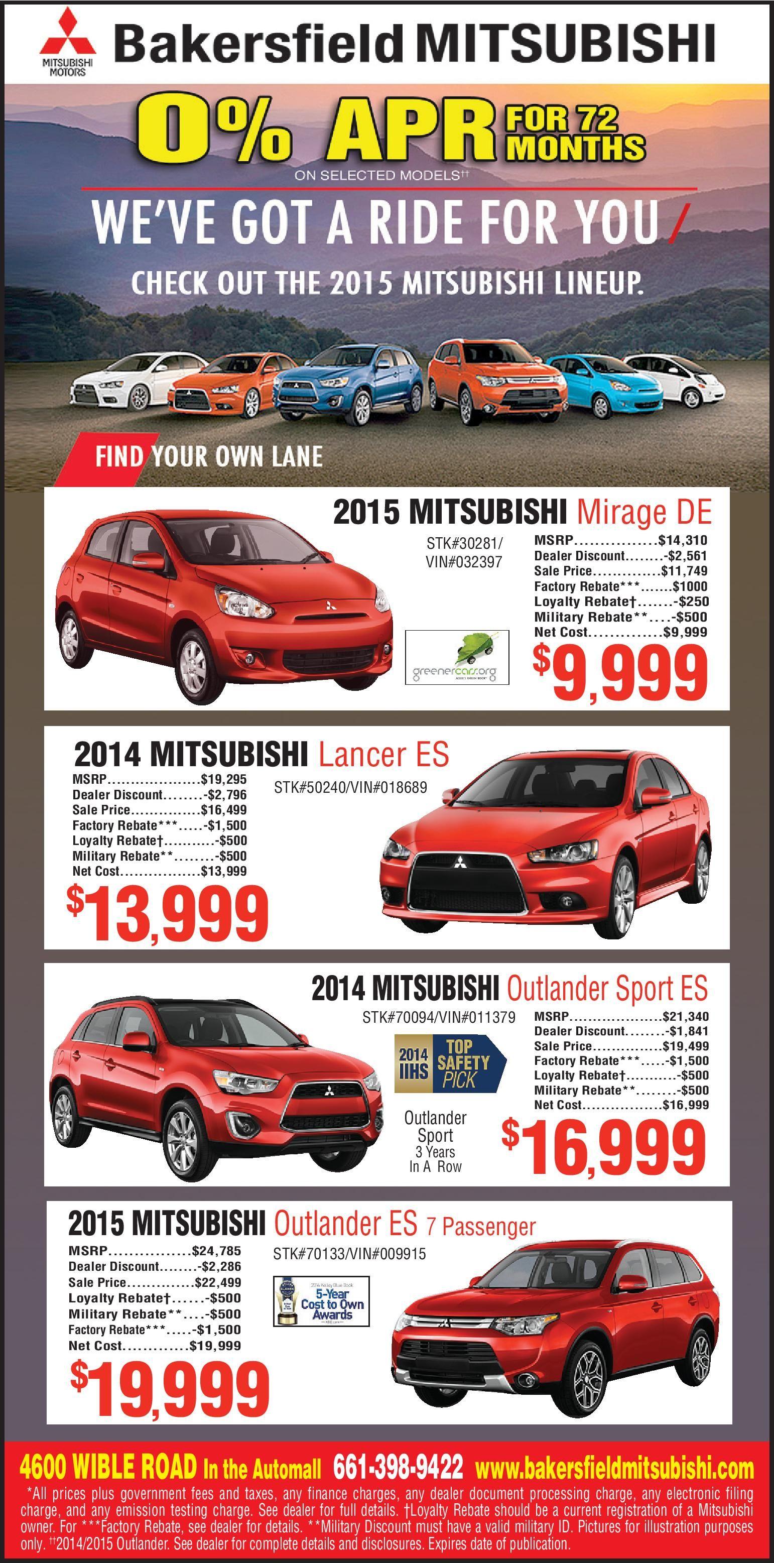 Print Ad Specials Lancer Outlander Mirage Bakersfield Mitsubishi Bakersfield Mitsubishi Mirage Lancer