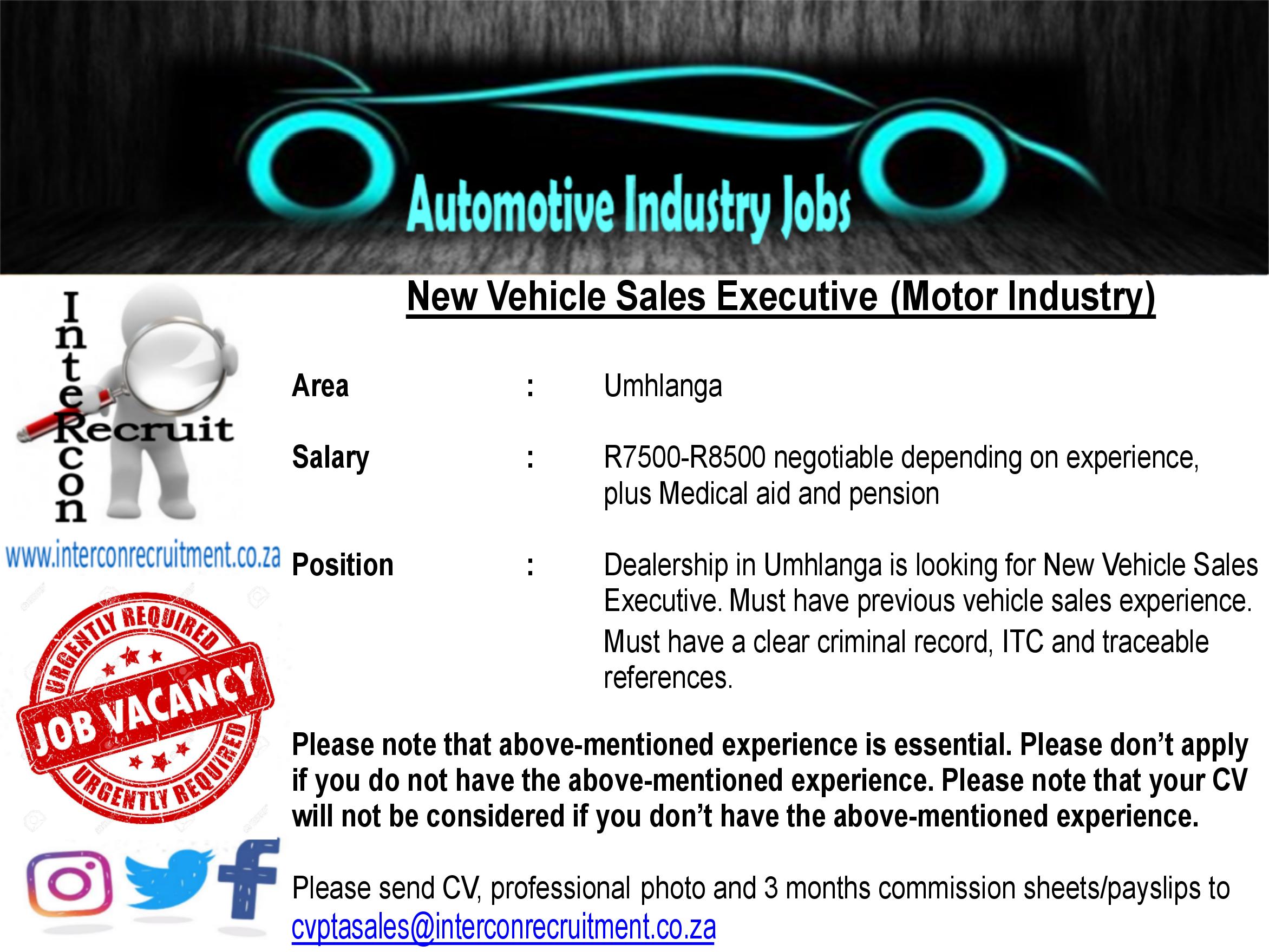 New Vehicle Sales Executive Motor Industry Umhlanga Salary