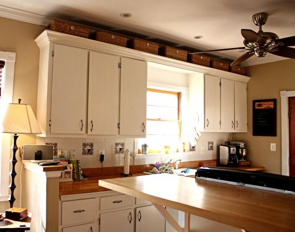 Baskets Above Decorating Above Kitchen Cabinets Kitchen