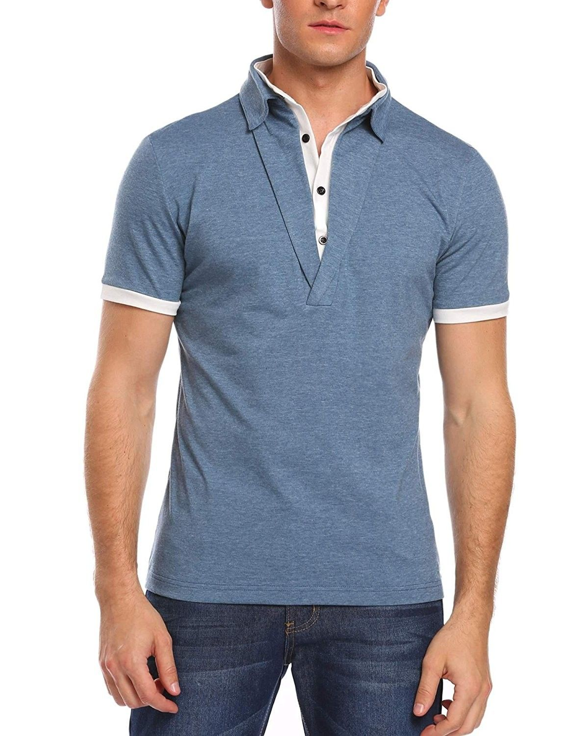 Men Fashion T-shirt Tops Long Sleeve Blouse V-Veck Pullover Casual New Slim Fit