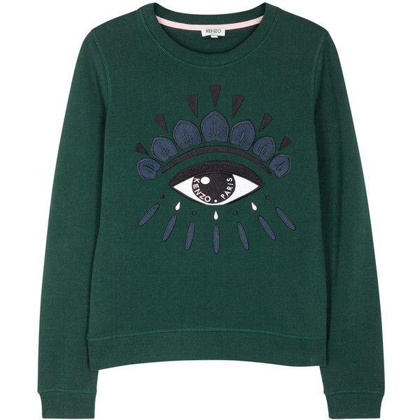 b58bdc36e04 KENZO Green eye-embroidered cotton sweatshirt (330 650 LBP) ❤ liked on  Polyvore