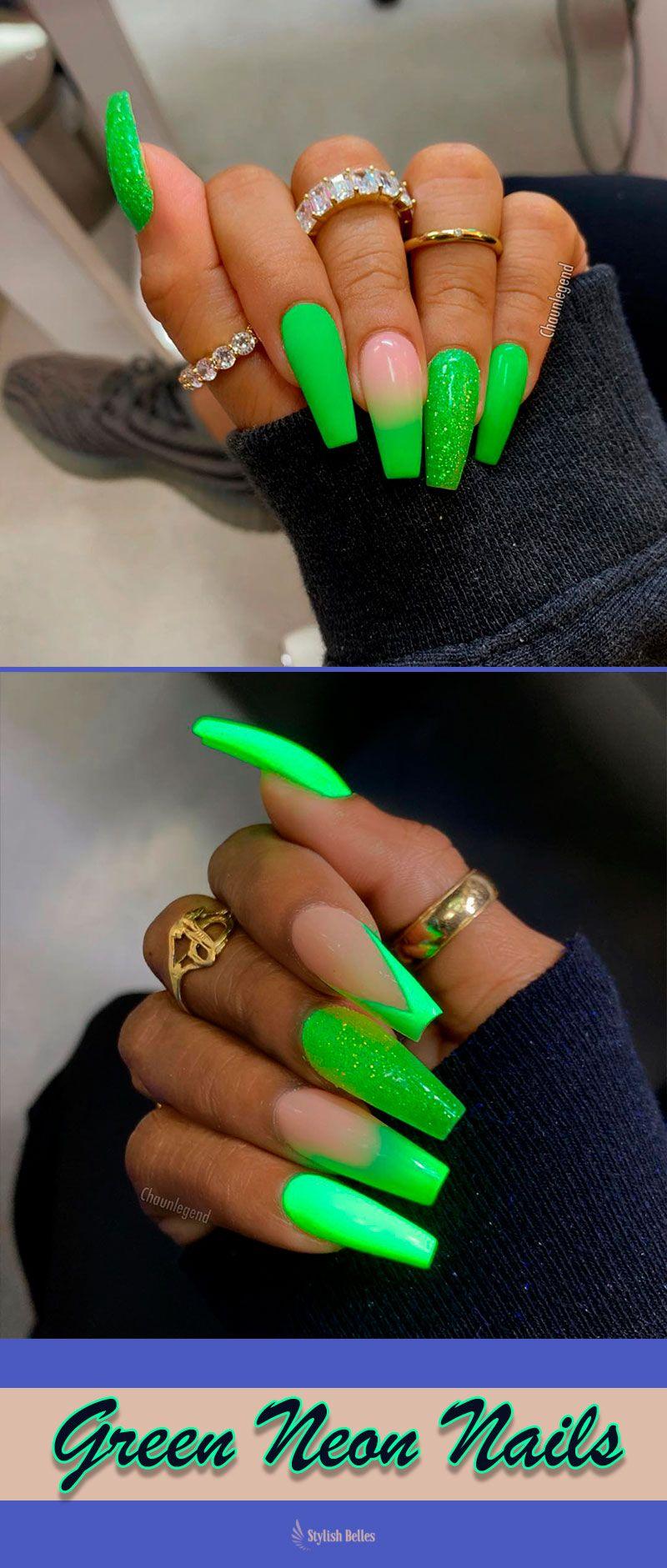 Green Neon Nails Summer Colors 2019 Summernails Summernailart Summernaildesigns Summernailcolors Coffinna Neon Green Nails Green Nails Shiny Nails Designs
