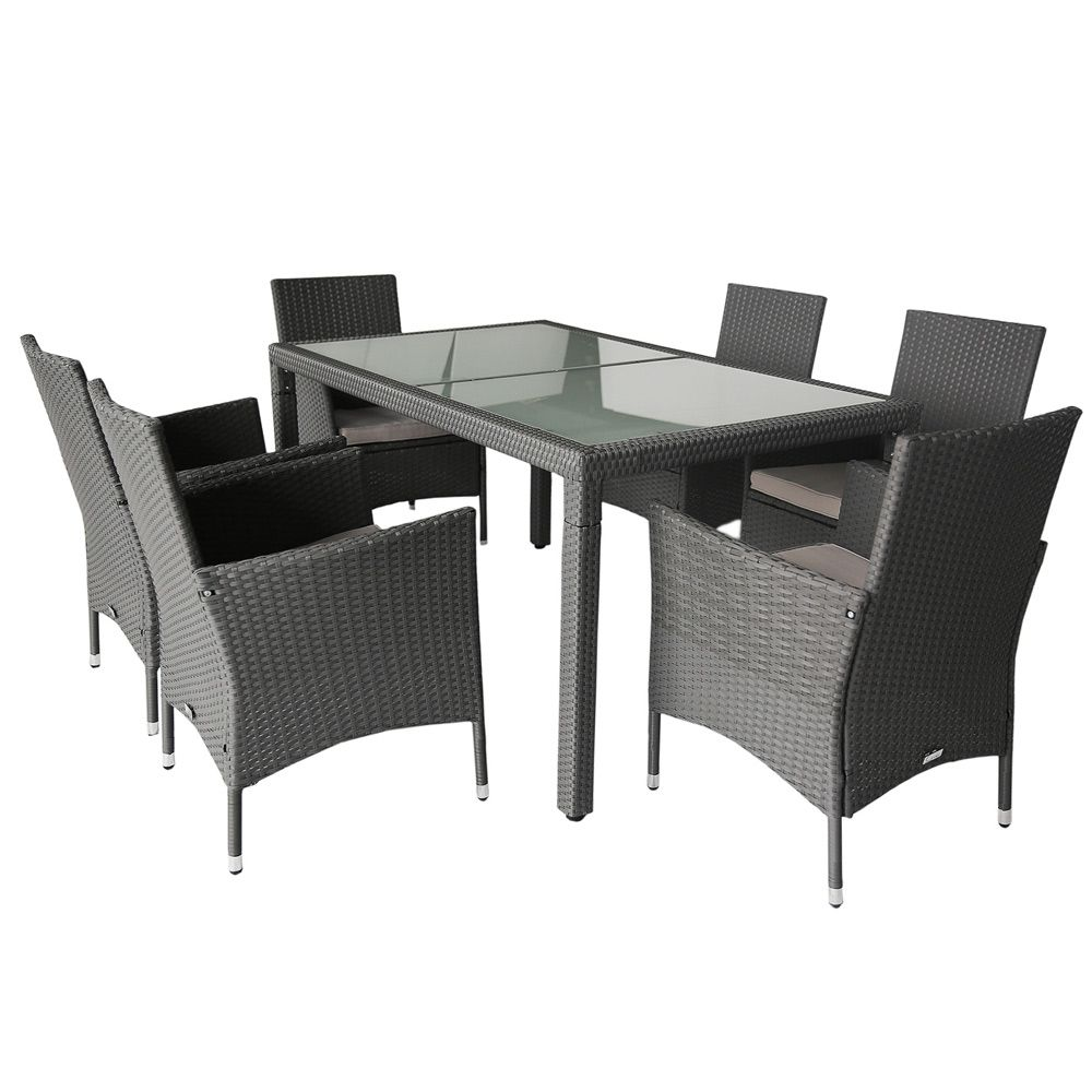 Buy Luxo Monte 7pc PE Wicker Outdoor Dining Setting - Grey ... on Luxo Living Outdoor id=73989
