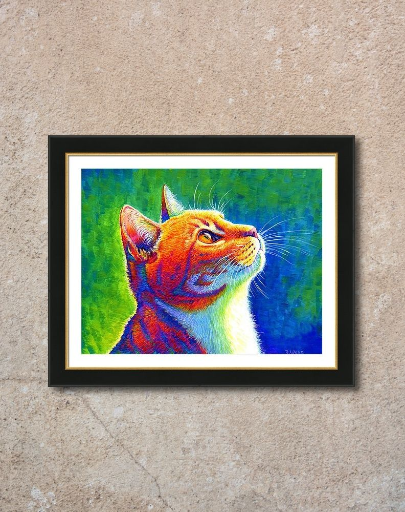 My newest painting rainbow cat portrait is now available online for purchase as a fine art print wall art home decor gifts and more in my online