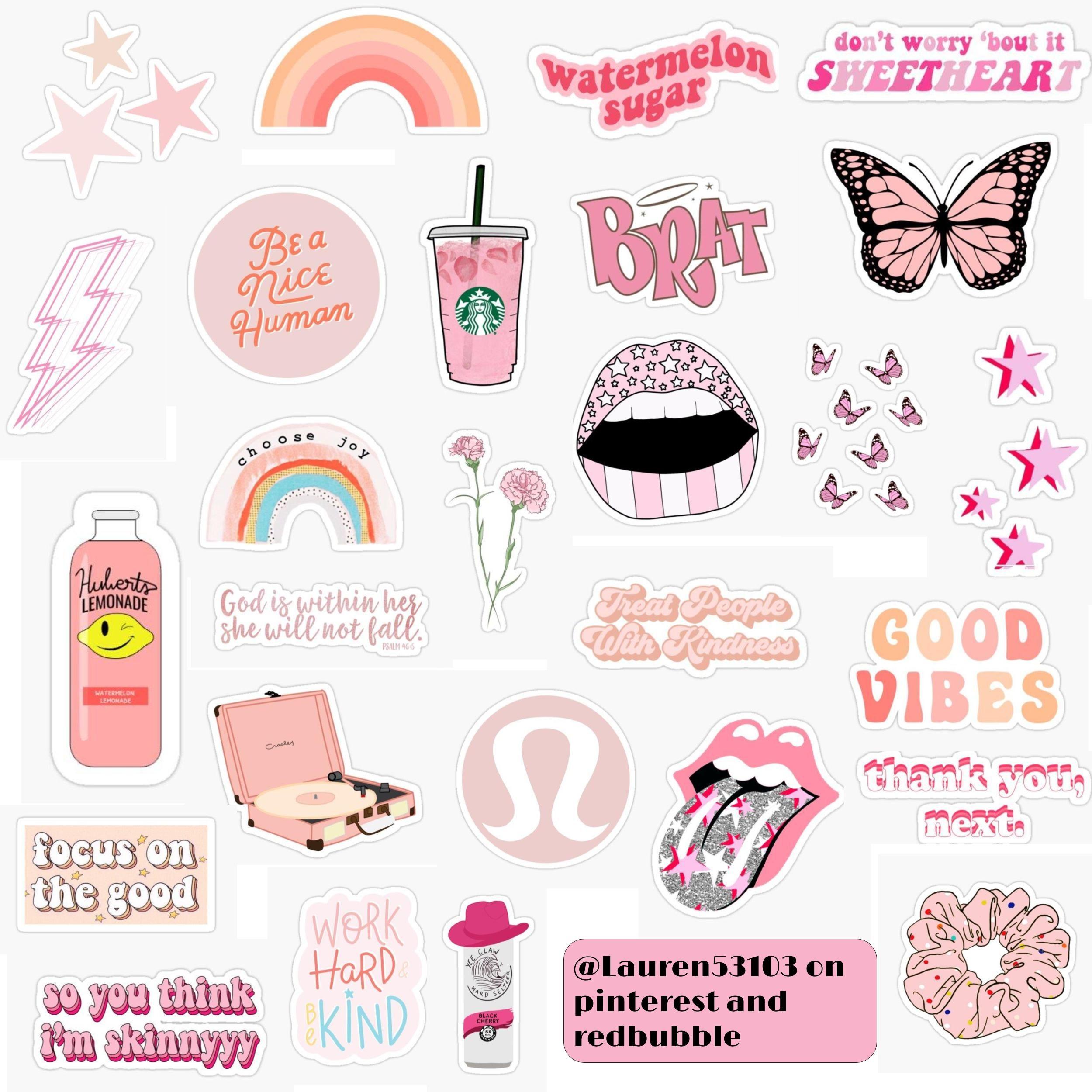Pink Aesthetic Sticker Pack Sticker By Lauren53103 In 2020 Aesthetic Stickers Phone Case Stickers Printable Stickers