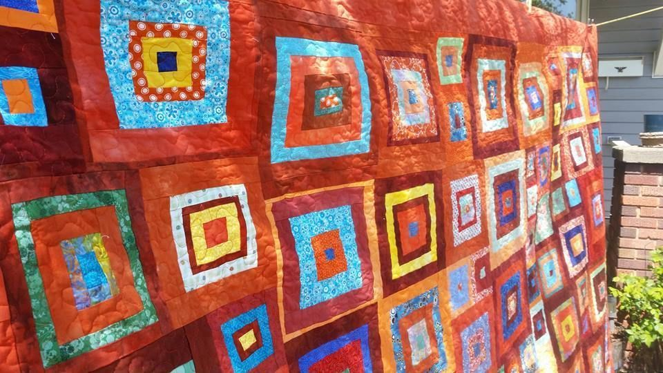 and quilts quilt top complete peel squares orange triangles