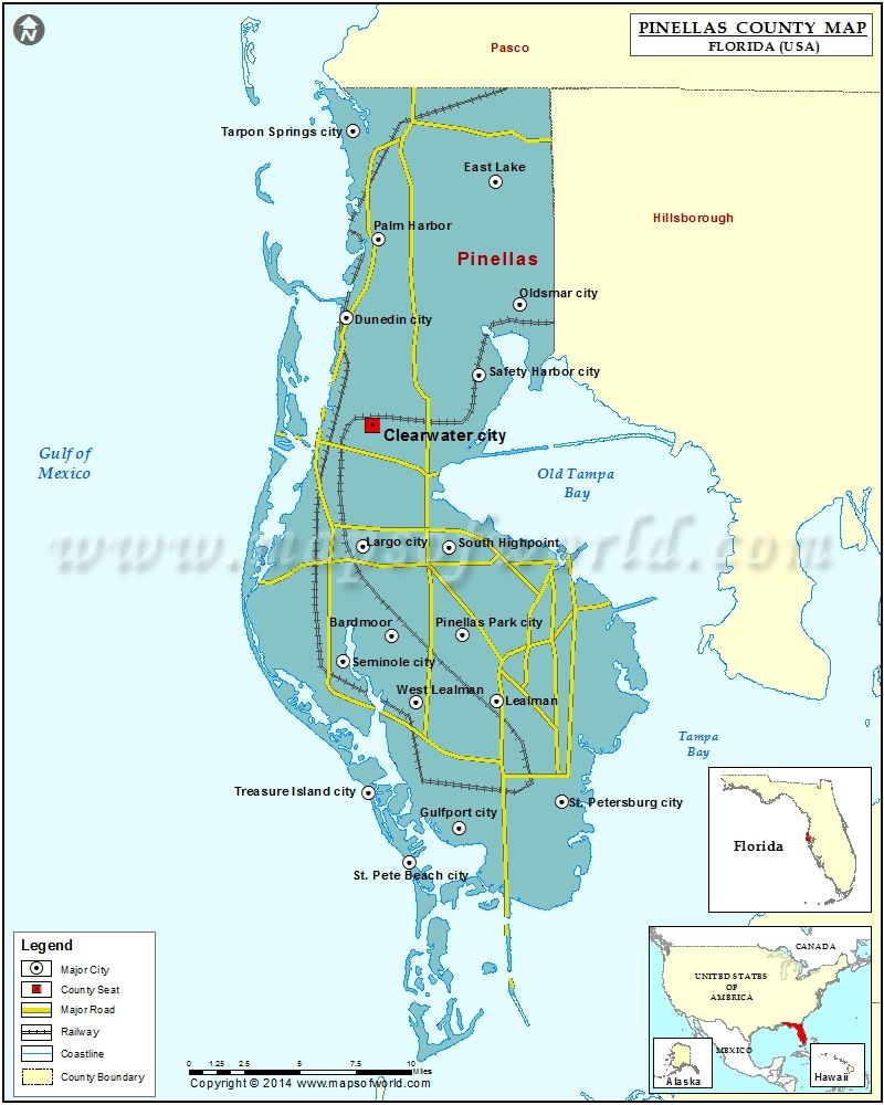 graphic regarding Florida County Map Printable called Pinellas County Map United states Claims COUNTY MAPS County map