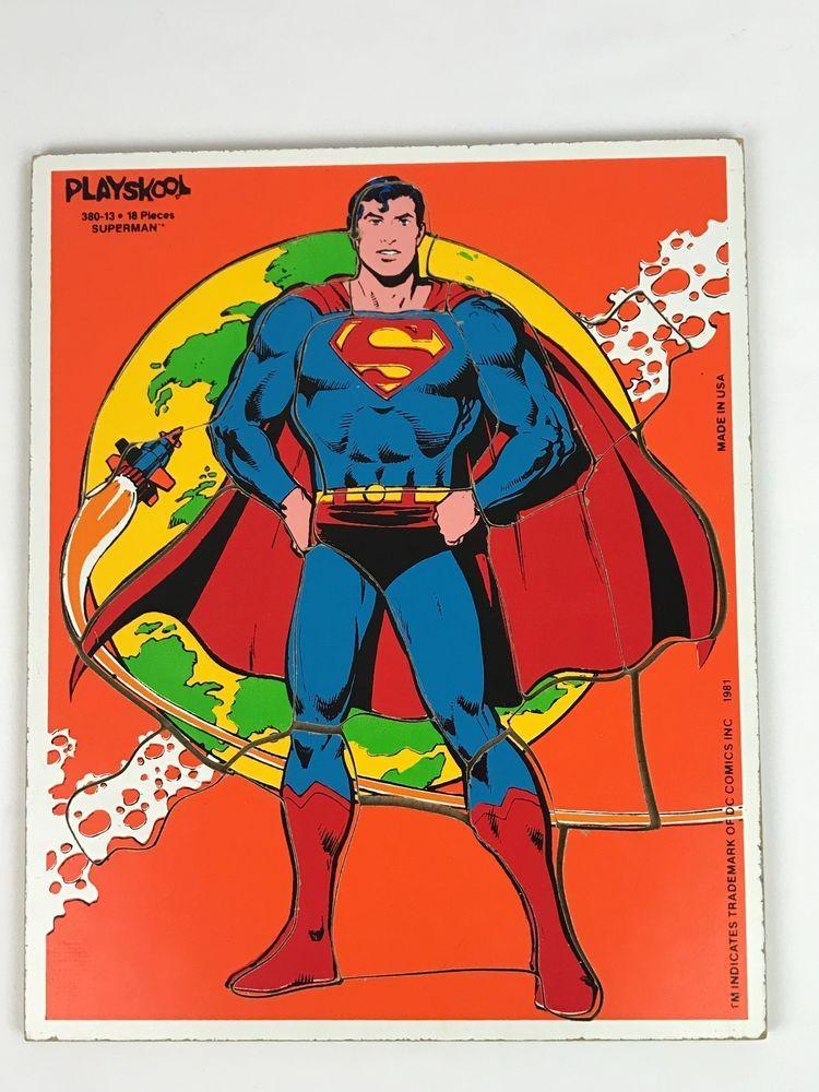 Vintage 1981 Playskool Superman Wood Frame Tray Puzzle 18 Pieces 380 ...