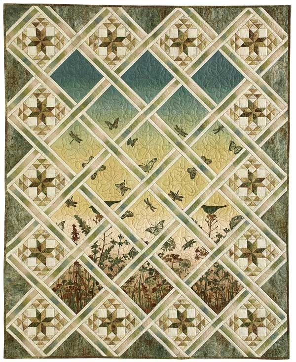 Magical Meadow: Serene Panel Print/Pieced Lap Quilt Pattern ... : quilt patterns with panels - Adamdwight.com