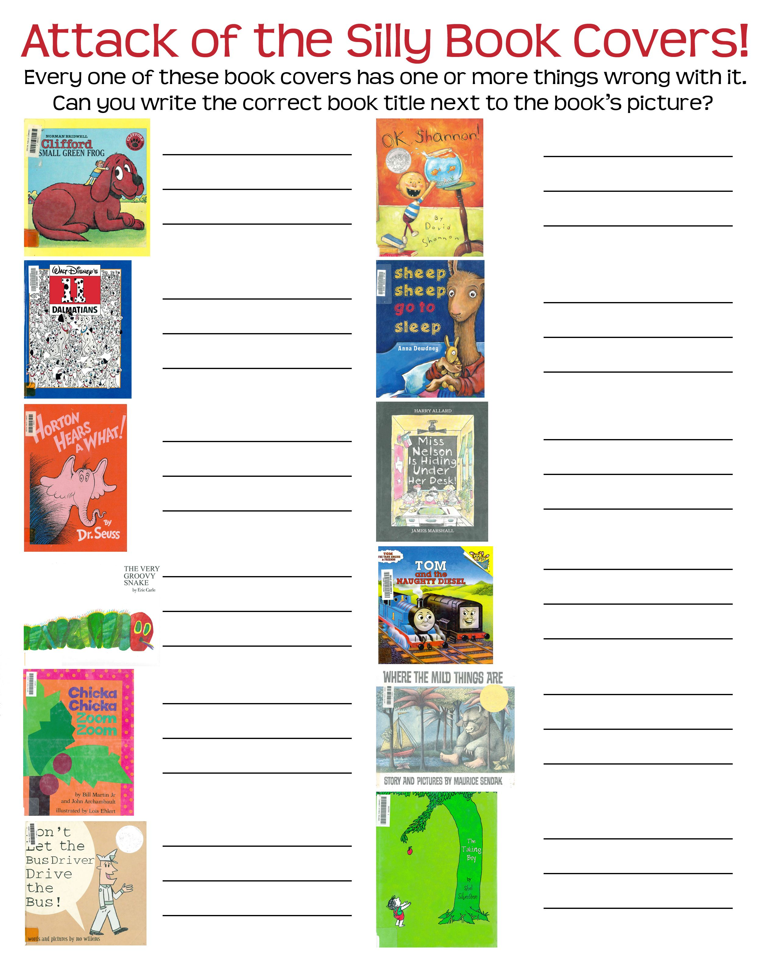 A Worksheet With The Dozen Silly Covers This Allows The