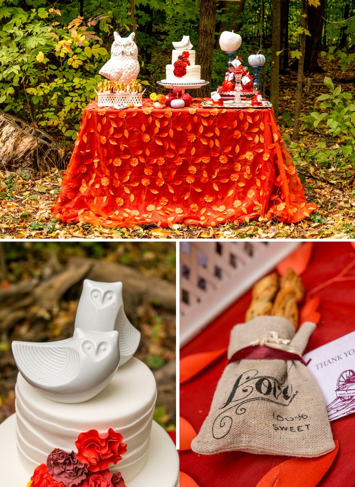 This Porcelain Owl Figurine Wedding Cake Topper And Mini Linen Love Favor Pouches Combine Beautifully In