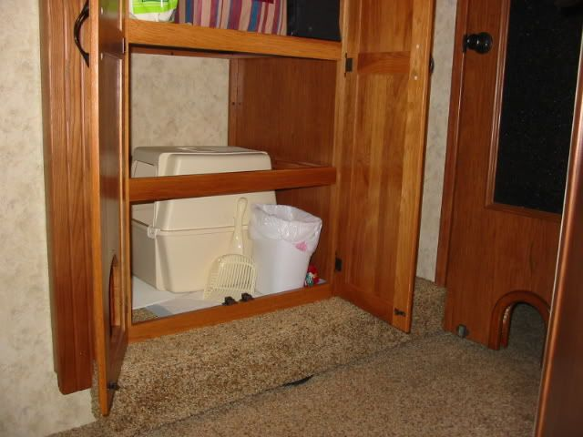 Under the sink? Could take off the original door and make a temporary for resale value.