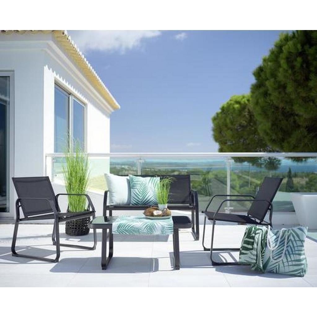 Loungegarnitur Pentos Schwarz Modern Glas Kunststoff Modern Living Lounge Garnitur Garten Lounge Set Lounge
