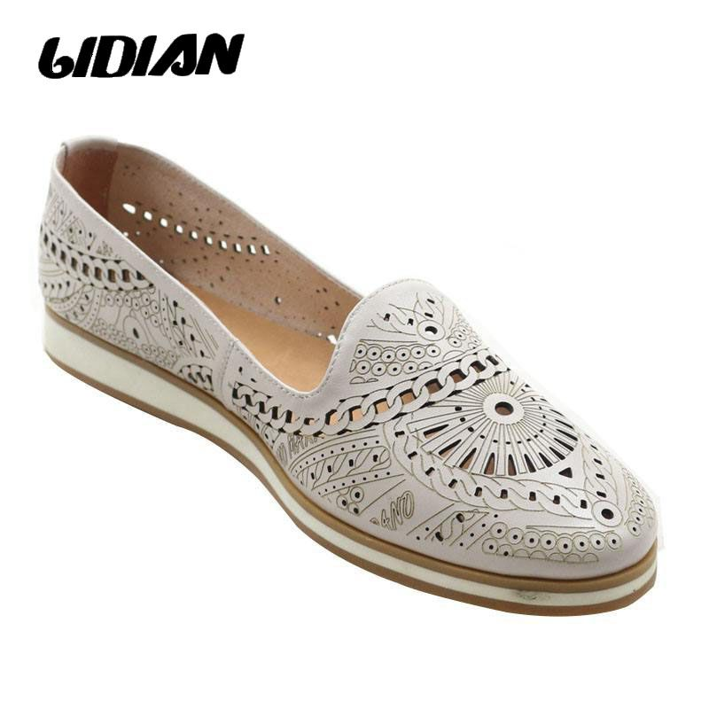 0d292fb9c6 Cheap LIDIAN moda para mujer zapatos de cuero genuino mocasines planos  ocasionales Hollow Out Flats zapatos
