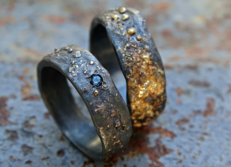 Viking wedding band set matching wedding rings gold silver