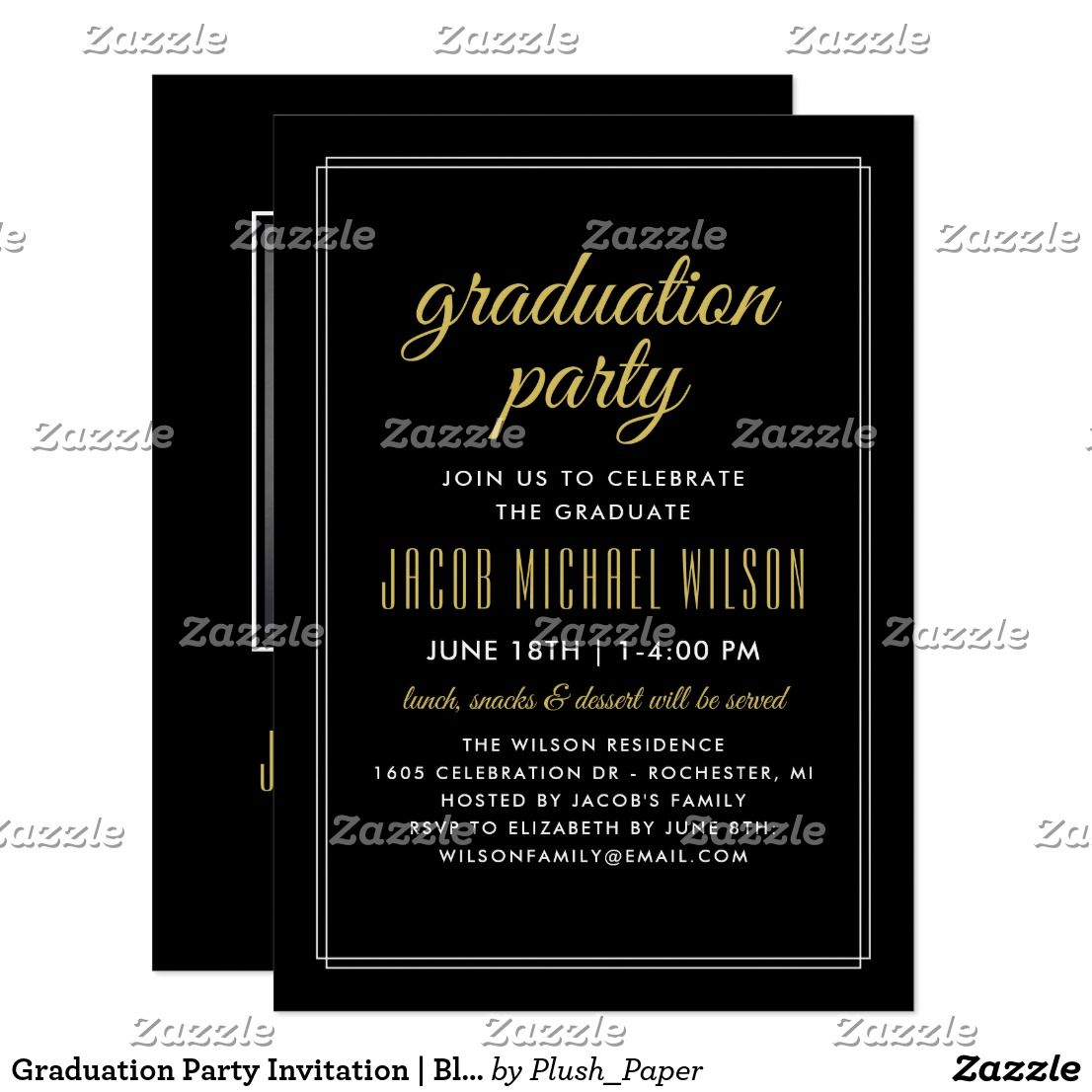 Graduation Party Invitation | Black and Gold | Party invitations