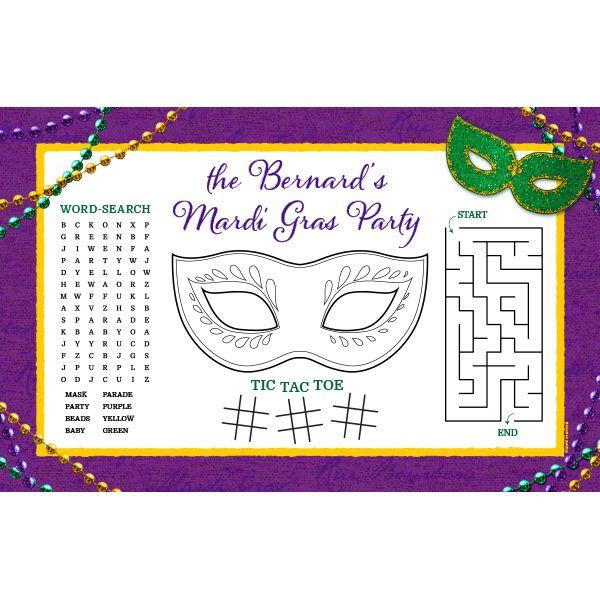 Mardi Gras Custom Activity Placemats Fast Ship 8 Per Package Mardi Gras Activities Mardi Gras Crafts Mardi Gras Party
