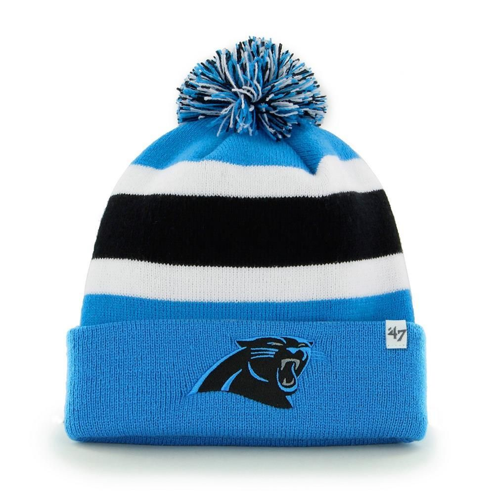 Carolina Panthers Beanie  47 Brand Breakaway Knit Hat. The hat features a  striped knit pattern with a large three-color pom pom up top. 27eda5555