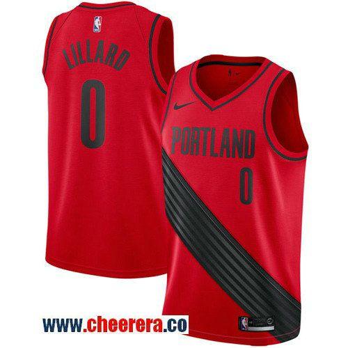 fd540b77030 Men's Nike Portland Trail Blazers #0 Damian Lillard Red Statement Edition  NBA Swingman Jersey