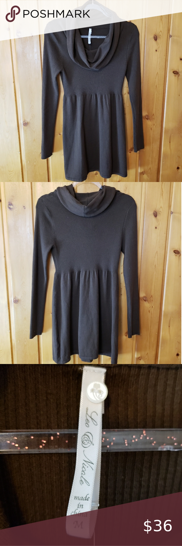 Leo & Nicole Cowl Neck Sweater Dress Tunic