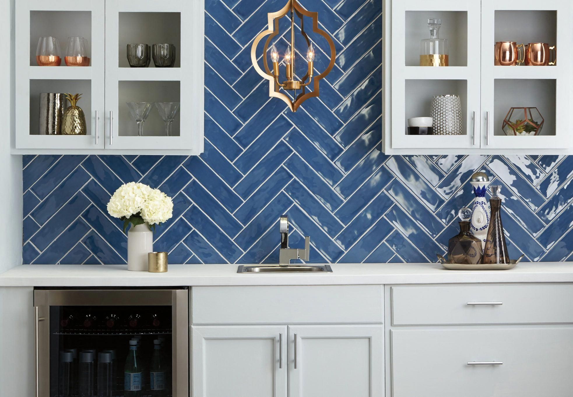 Twist Up Your Idea Of A Blue Subway Backsplash And Create A Unique Look With Thi Access In 2020 Blue Tile Backsplash Blue Backsplash Blue Tile Backsplash Kitchen