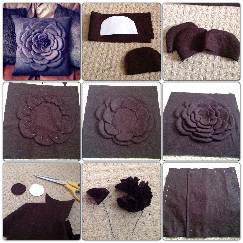 Diy flower cushion idea from pinterest thanks x decor fun