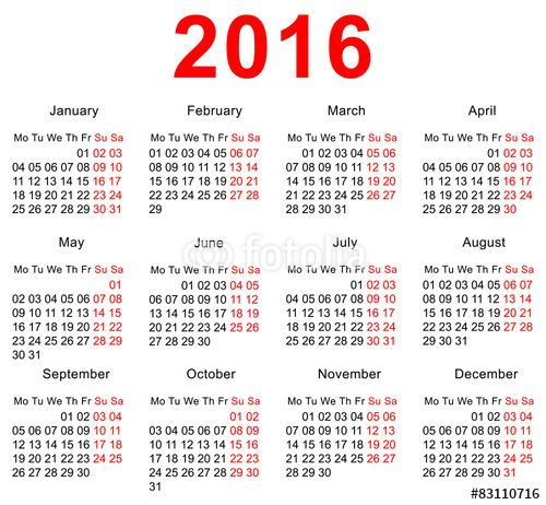 2016 Calendar Download - Free Printable Calendar 2016, Template ...