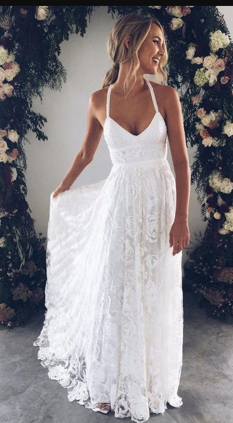 b153197e28 Halter Empire White Lace Prom/Evening Dress,Beach Lace Wedding Dress  Informal,White Lace Maxi Dress · Flosluna · Online Store Powered by Storenvy