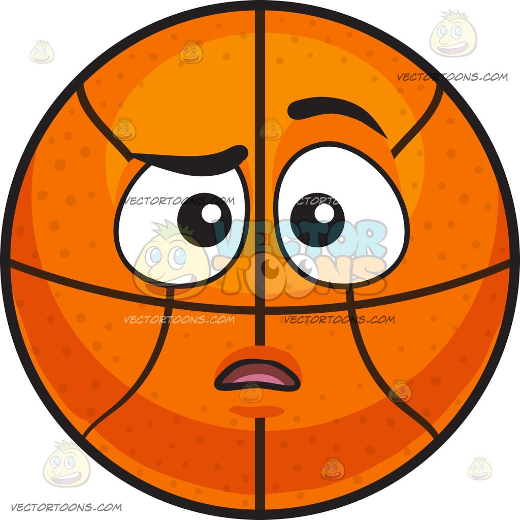 A Baffled Basketball:  An inflated orange spherical rubber ball with black ribs divided into eight segments raises its left black eyebrow and furrows its right in confusion  The post A Baffled Basketball appeared first on VectorToons.com.  #emoji #emoticon #clipart #graphicdesign #vectortoons