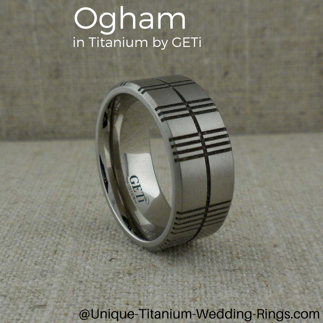 Ogham Wedding Ring with Made in the UK by GETi write your own Ogham