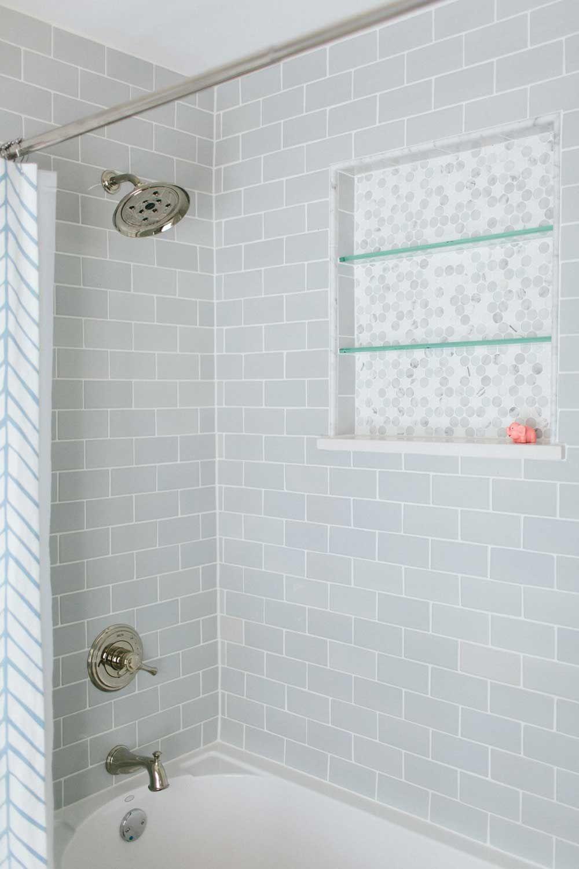 Alden Residence Bathrooms Remodel Bathroom Tub Grey Subway Tiles