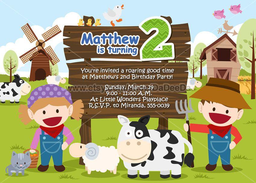 Farm Animal Birthday Party Invitation  Farm Animal by DaDeeDa, $13.00