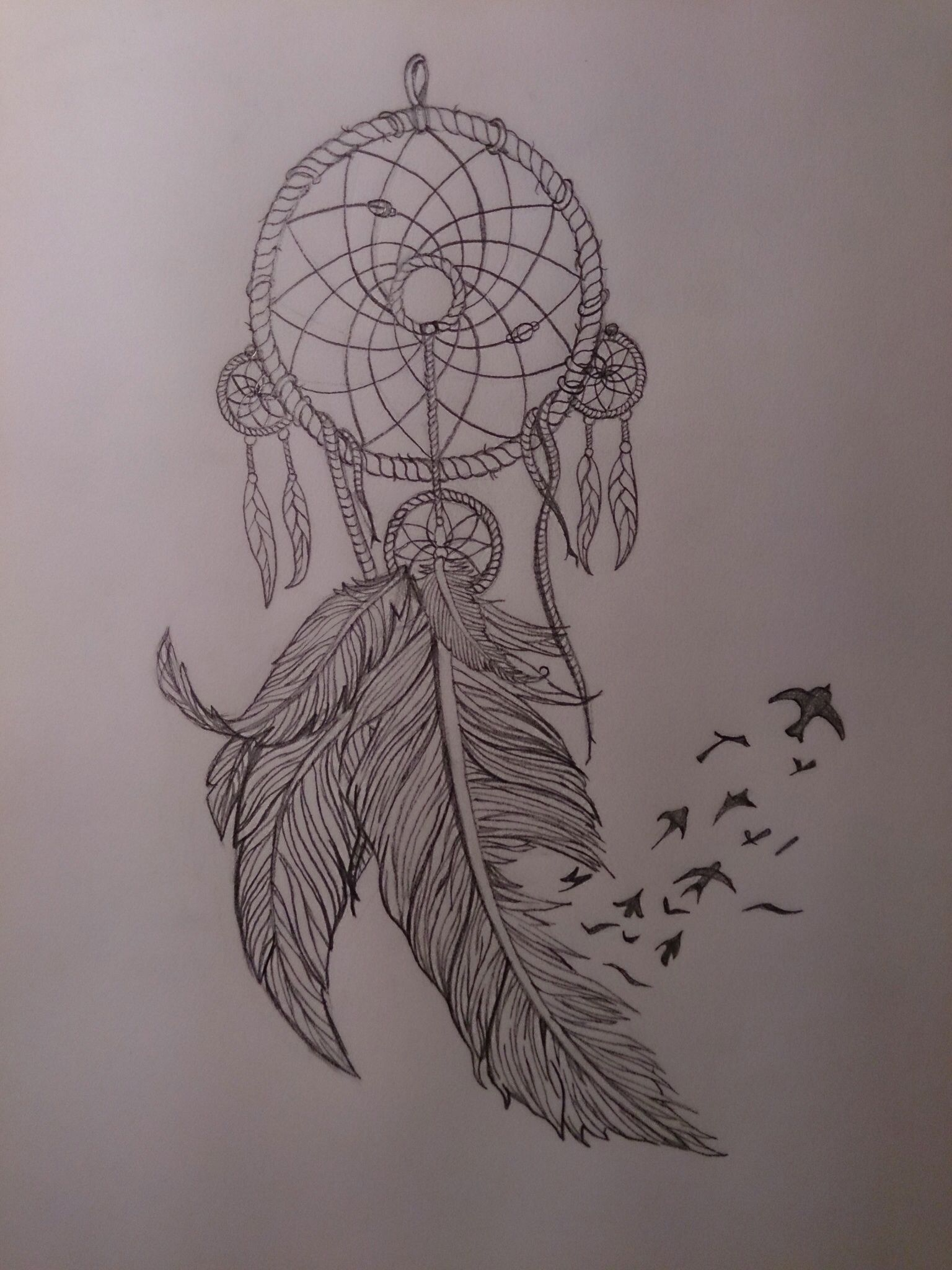 Ideas about bird tattoos on pinterest tattoos - Dream Catcher With Feathers And Birds Thigh Tattoo Design