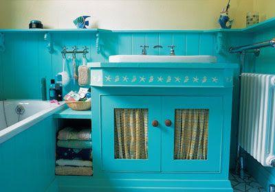 turquoise vanity | turquoise bathroom, yellow bathrooms