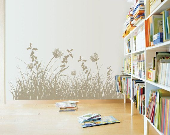 Large Grass Leaves and Flowers Decal for Home, Dorm, Office, Nursery