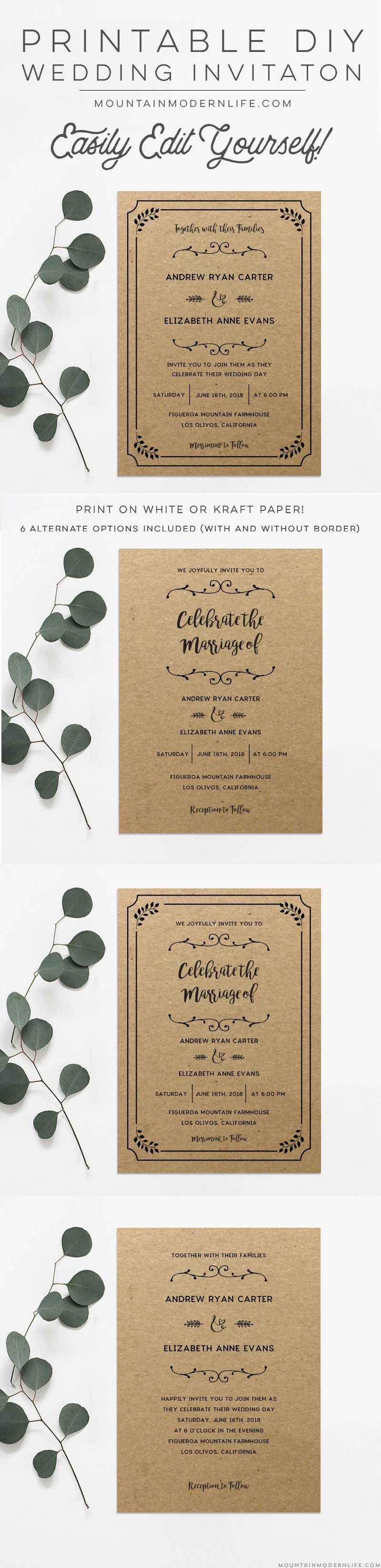 Printable DIY Wedding Invitation | Diy wedding invitations, Diy ...