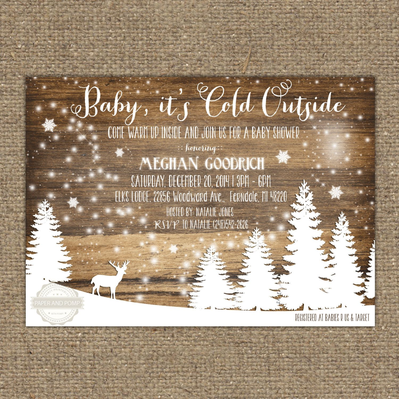Winter Baby Shower Deer Rustic Birthday Invitation Printable