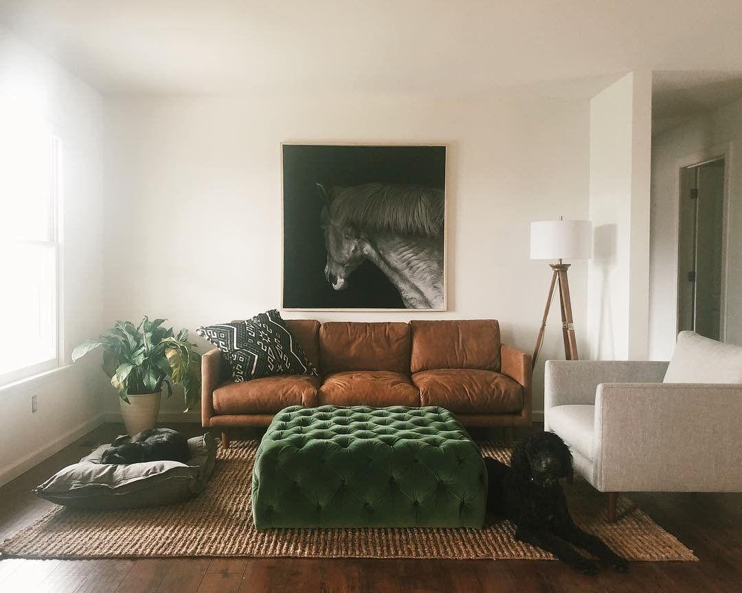 Diamond Grass Green Ottoman Brown Sofa Living Room B