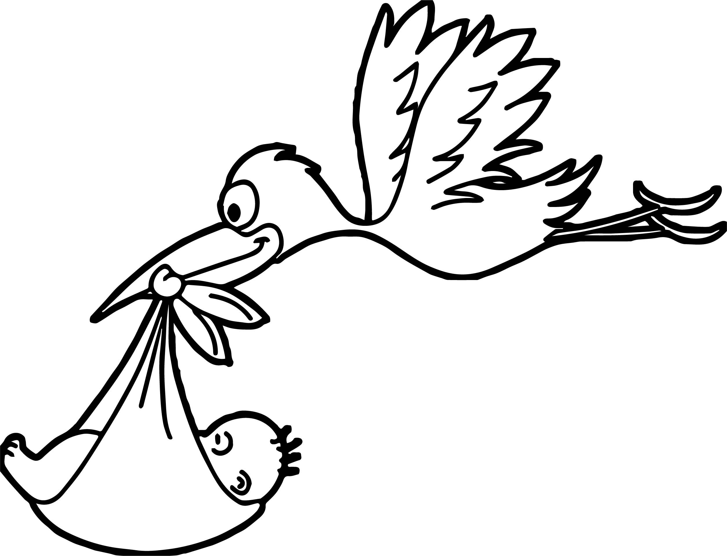 awesome Stork Flying Baby Coloring Page  Storch, Storch baby