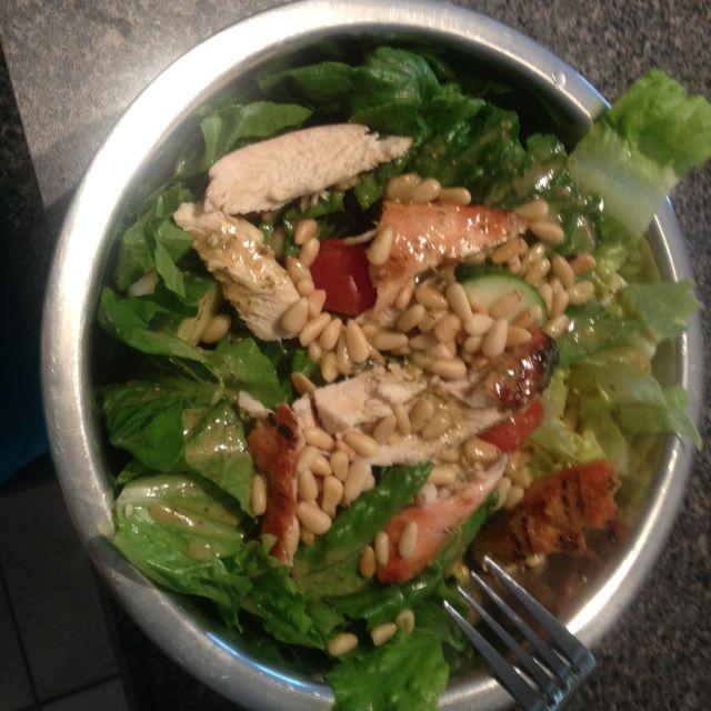 Ultimate Reset Day 2- a huge Greek salad w/ home made Greek dressinf